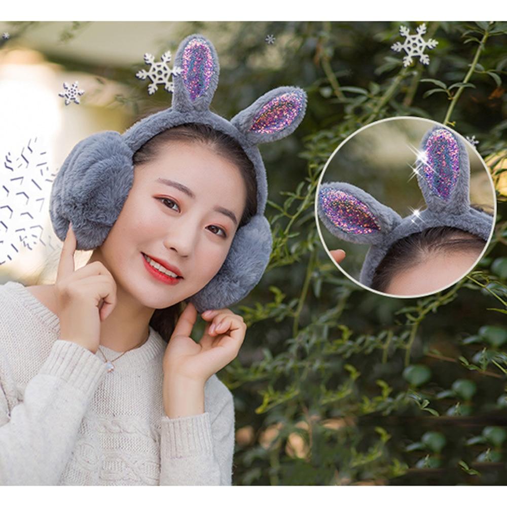 2020 Cute Shiny Rabbit Ear Plush Earmuffs Women Girl Fur Plush Ear Warmer Muffs Headband Cartoon Earlap New Arrival