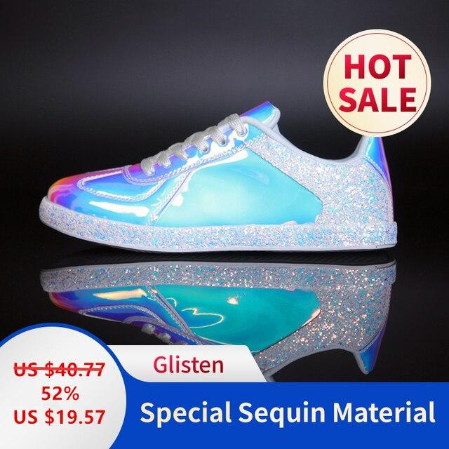 Mode Glitter Vrouwen Casual Schoenen Flats Glinsteren Superstar Sneakers Glitter Luxe Schoenen Vrouwen Ontwerpers 41 Trainers Kleurrijke