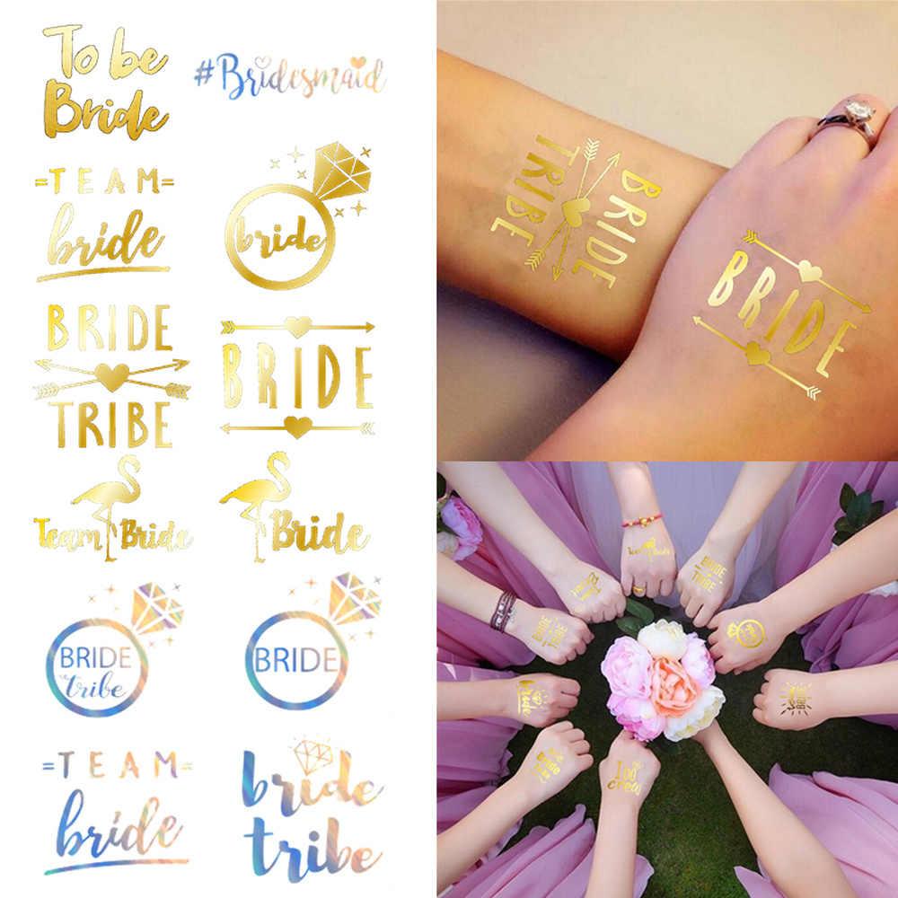 10 個の結婚式の装飾花嫁は入れ墨のステッカーブライダルシャワーパーティー用品チーム花嫁独身編パーティー、 q