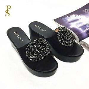 Image 2 - פלוק נעלי נשים גבוהה עקב טריז עקבים כפכפים לנשים PU בלעדי נעליים