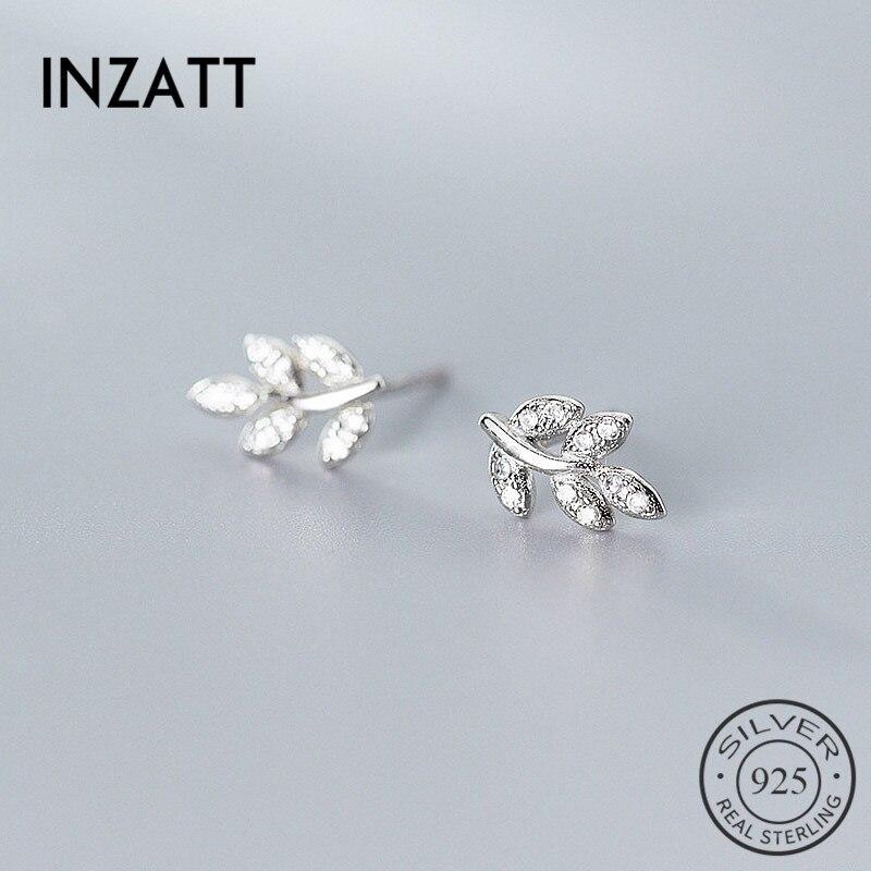 INZATT Real 925 Sterling Silver Minimalist Zircon Leaves Stud Earrings For Fashion Women Cute Fine Jewelry  Accessories Gift
