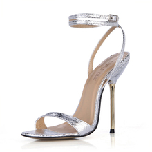 цены Summer New 11cm High Heeled Sandals Fashion Snakeskin Stiletto Thin heel Ankle Strap Open Toe Sexy Party Dress Women Shoes 5-i10