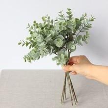 8 branches Eucalyptus Bunch Artificial Silk Flowers Fake green leaf high simulation garden home decoration