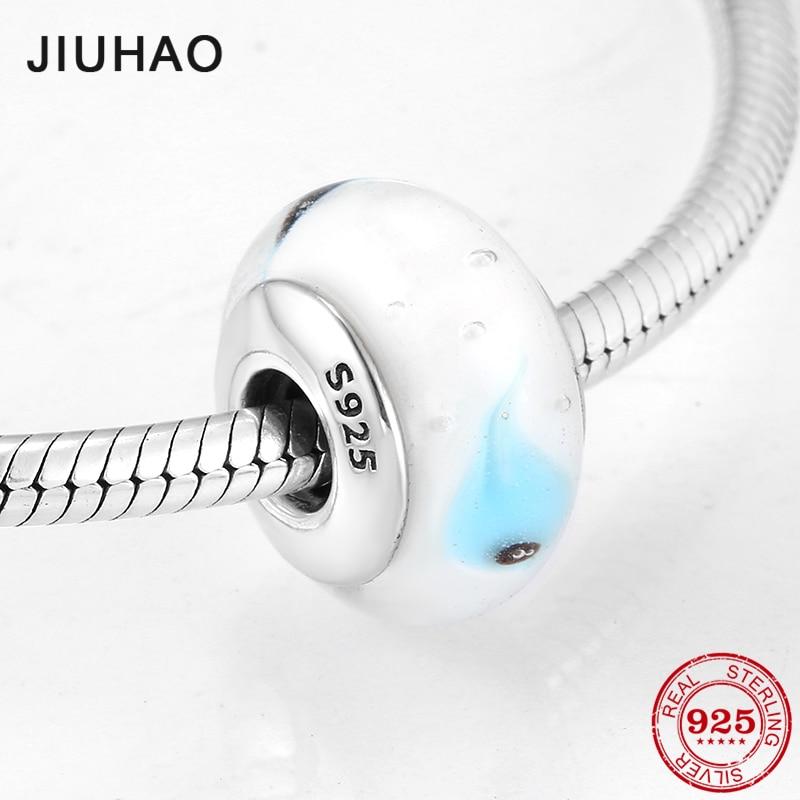 925 Sterling Silver Beautiful Lampwork Blue Transparent Murano Glass Beads Fit Pandora Original Bracelet Charms Jewelry Making