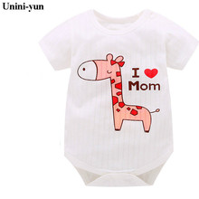 [Unini-yun]Baby Boy Clothes Animal Jumpsuit Baby Girl Rompers Clothing Deer Cartoon infant rompers baby boys girls clothes 3M-24 cheap COTTON O-Neck Covered Button Unisex Short 6688 Fits true to size take your normal size