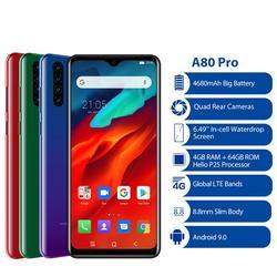 Мобильный телефон Blackview A80 Pro, четырехъядерная задняя камера Android 9,0, 6,49 дюймэкран Waterdrop, 4 Гб + 64 ГБ, Восьмиядерный, глобальная версия, 4G