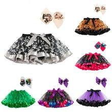 Юбка-пачка на Хэллоуин, юбки для маленьких девочек, мини-юбка принцессы, юбка радужной расцветки для дня рождения, одежда для девочек, одежда для детей