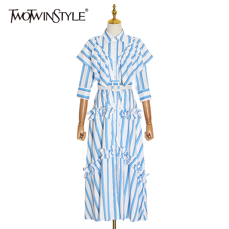 TWOTWINSTYLE Striped Hit Color Ruffles Dresses Female Lapel Collar Three Quarter High Waist With Sashes Dress Women Fashion Tide