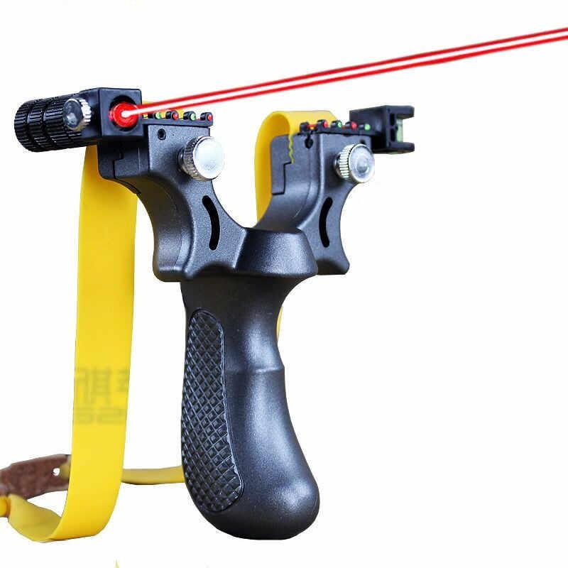 레이저 목표 Slingshot 수지 투석기 플랫 고무 밴드 야외 고정밀 사냥 슈팅 Slingshot