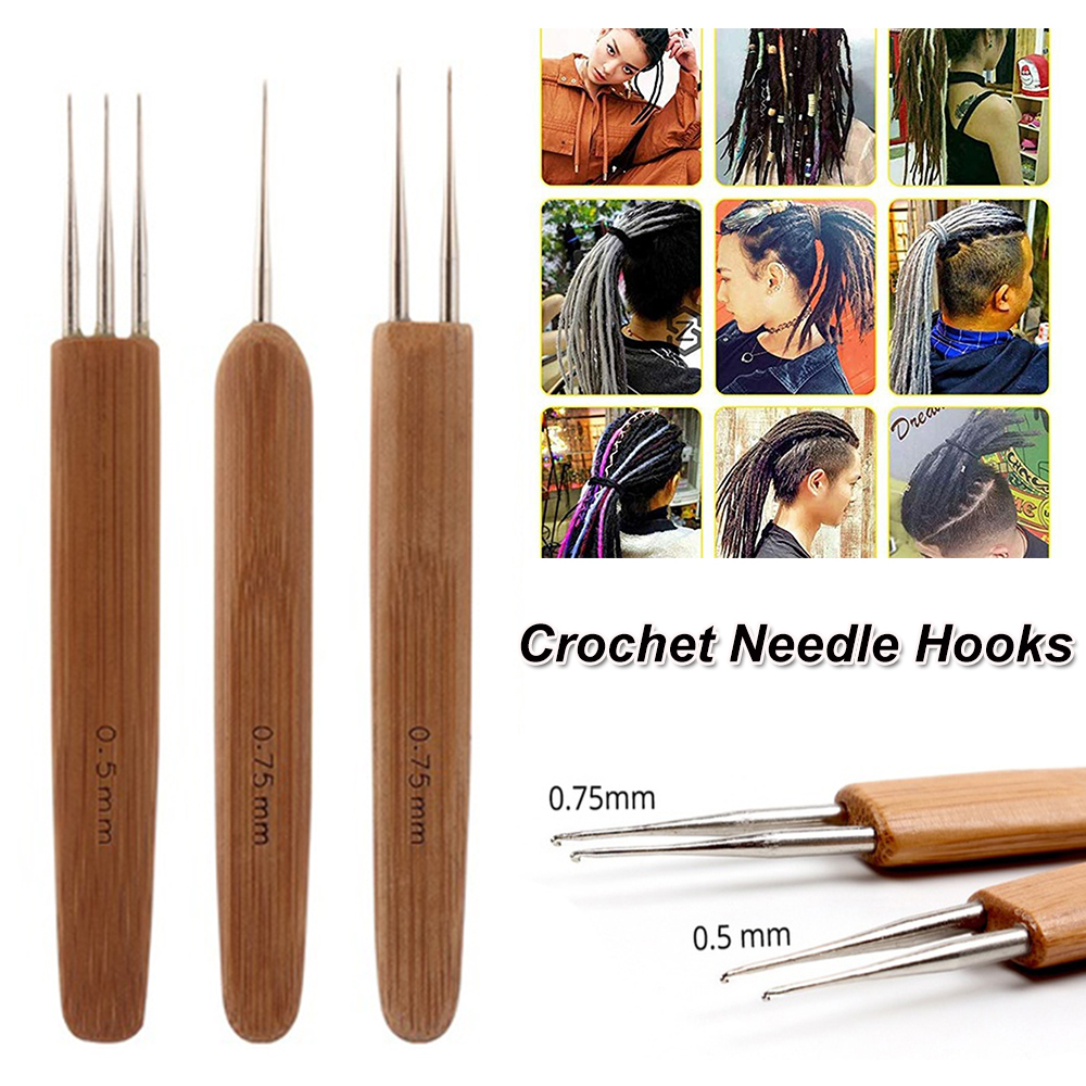 One Doube Triple Head Dreadlock Crochet Needles Bamboo Handle Micro Hook Dreadlock Maintenance Small Hook Hair Making Tools