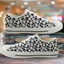 ELVISWORDS Lovely Animal Panda Print Girls Canvas Shoes Cart