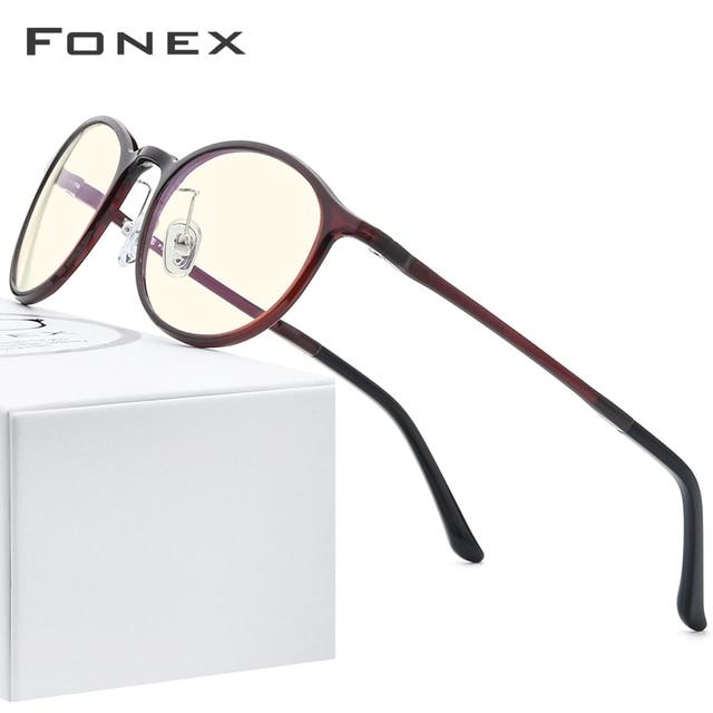 FONEX Ultem TR90 Anti lumière bleue lunettes hommes lunettes lunettes lunettes femmes Antiblue ordinateur de jeu lunettes AB04