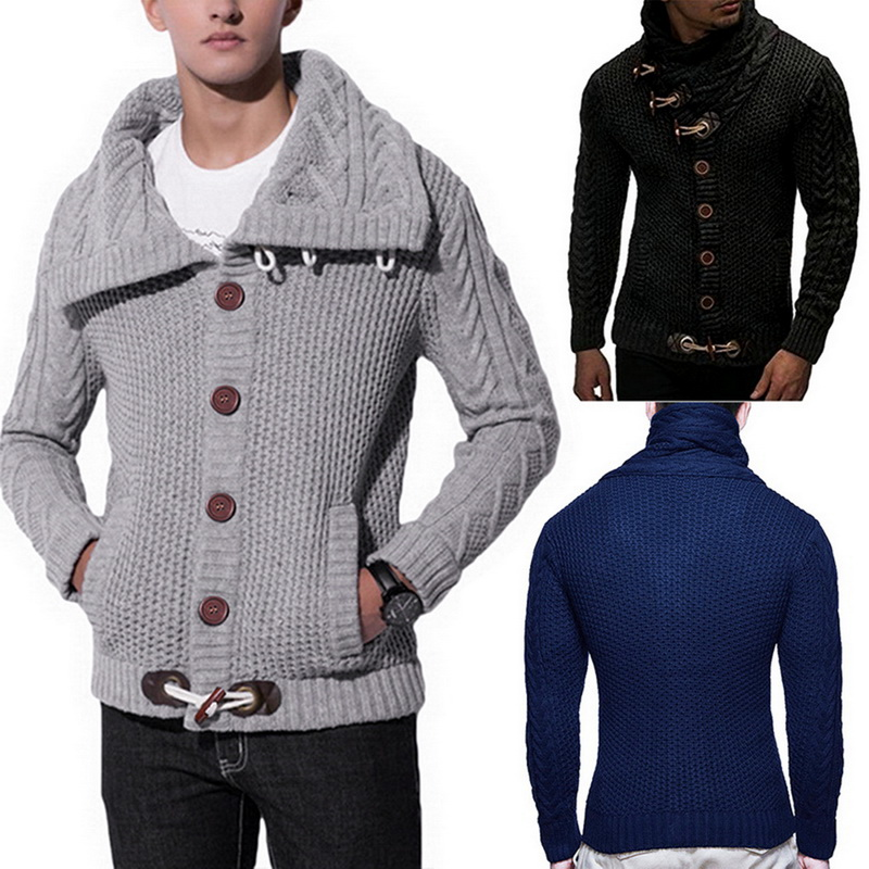 2019 Mens Buckle Cardigan Sweater Coat Autumn Winter Warm Thick Hedging Turtleneck Knitting Jumper Sweaters Male Coats