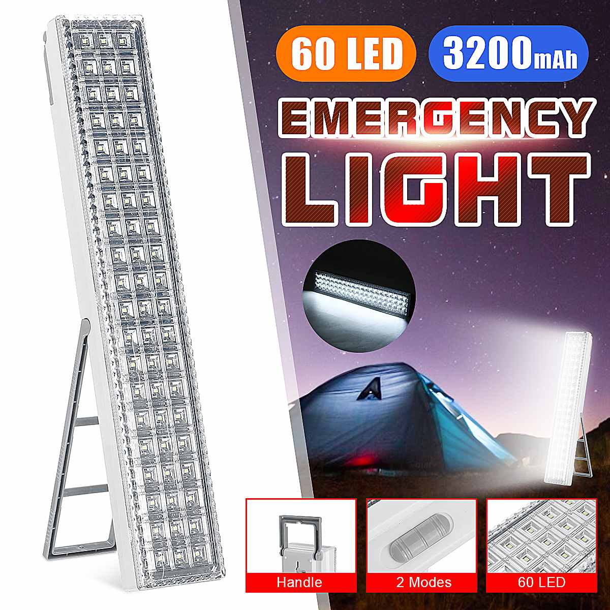 60 LEDS Emergency Light SMD Multi-Function Rechargeable Emergy Lighting Safety For Home Camp Outdoor