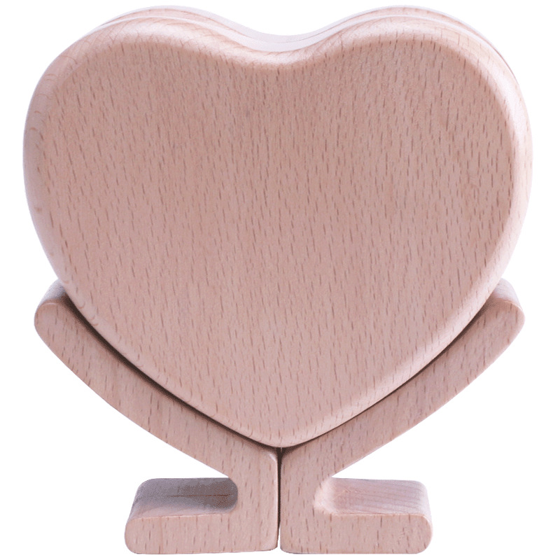 Simple Love Heart Shaped Tooth Box Girl Boy Child Memory Initial Heart Collection Tooth Box Baby Fetal Hair Storage Box Wooden
