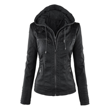 Chaqueta gótica de cuero de imitación para mujer con capucha chaqueta de motocicleta de Otoño de invierno chaqueta negra de cuero de imitación PU chaqueta 2019 abrigo