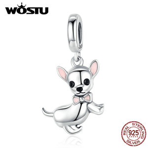 Image 1 - WOSTU Authentische 925 Sterling Silber Chihuahua Hund Charme Fit Original Armband DIY Perlen Halskette Anhänger Schmuck, Der CQC1317
