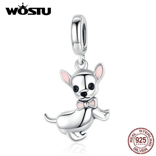 WOSTU Authentische 925 Sterling Silber Chihuahua Hund Charme Fit Original Armband DIY Perlen Halskette Anhänger Schmuck, Der CQC1317