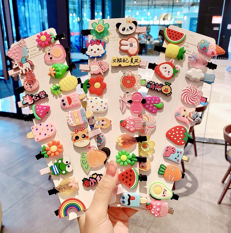 MINHIN 6/10pcs Set Cartoon Hairpin For Women Children Rainbow Hair Clip Kids Flower Candy Fruit Barrette Hair Accessories