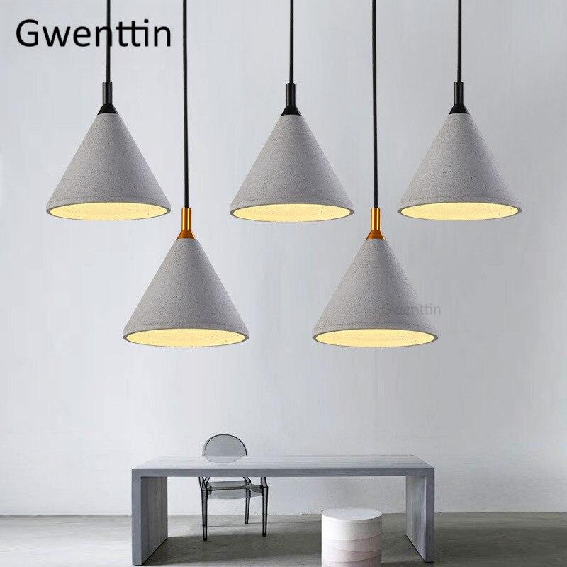 ヴィンテージセメントペンダントライト Led ロフト装飾産業ランプ北欧ランプリビングルームキッチン照明器具 E27 - Gwenttin Lighting Store