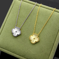 Titanium steel four leaf flower double buckle necklace personality fashion ladies popular models chain to send love 2019 new hot