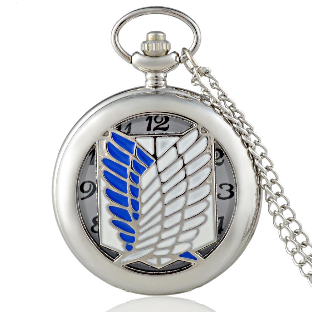Fashion Silver Attack On Titan Quartz Pocket Watch With Chain Retro Men Women Classic Pendant Necklace Clock Gift