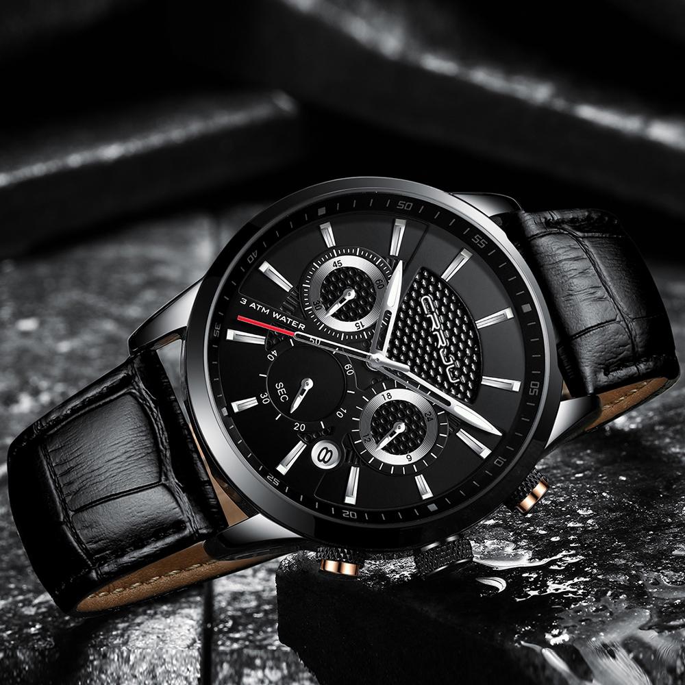 CRRJU, nuevos relojes de moda para hombre, relojes de pulsera analógicos de cuarzo, cronógrafo resistente al agua de 30M, reloj deportivo con fecha Relojes De Correa De Cuero para hombre 13