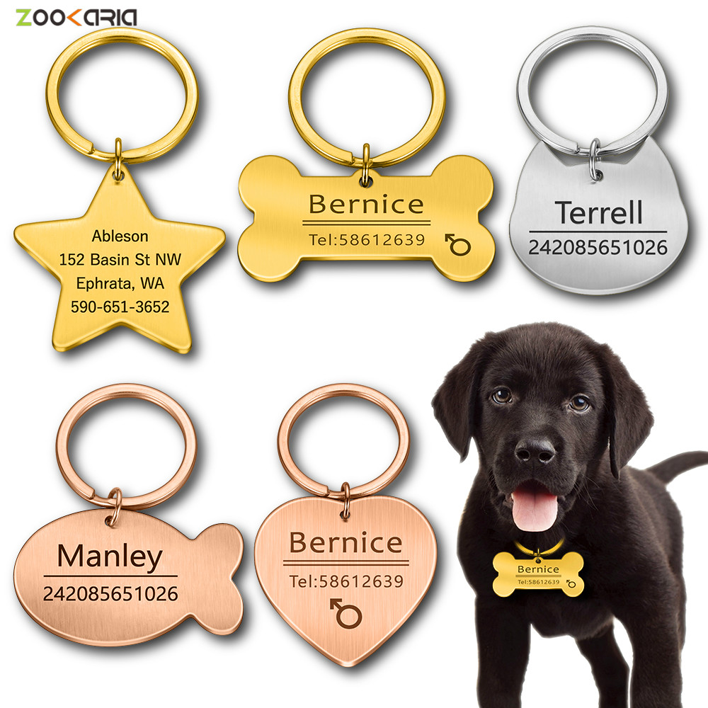 Personalized Cat Dog Pet ID Tag Keychain Engraved Pet ID Name for Cat Puppy Dog Collar Tag Pendant Keyring Bone Pet Accessories 1