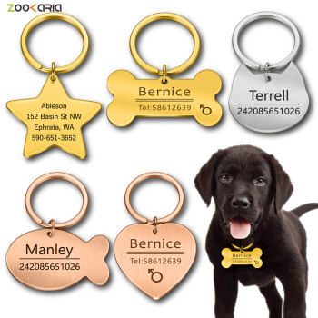 Personalized Cat Dog Pet ID Tag Keychain Engraved Name for Puppy Collar Pendant Keyring Bone Accessories - discount item  30% OFF Pet Products