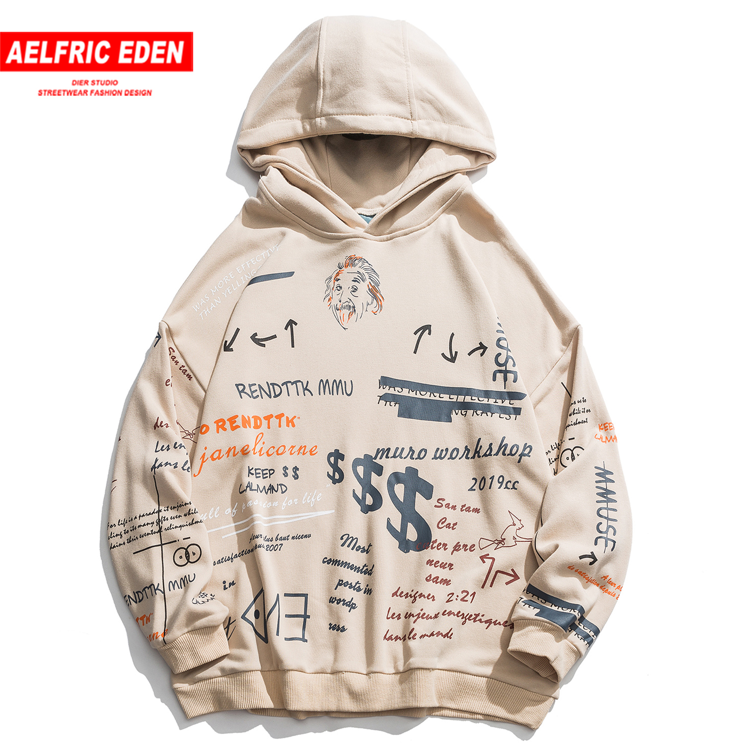 Aelfric Eden Hip Hop Letter Graffiti Men Hooded Sweatshirts 2019 Harajuku Casual Cotton Male Pullover Fashion Streetwear Hoodies