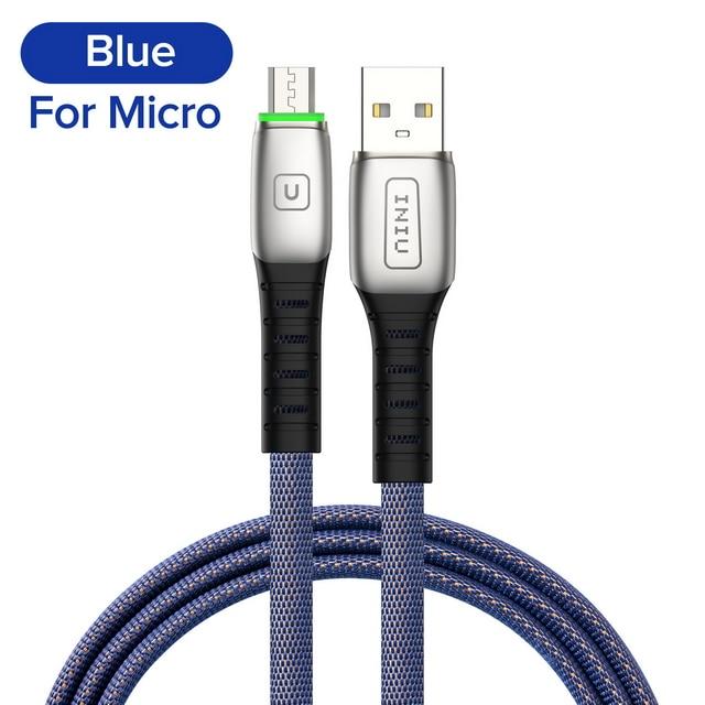 INIU 2 м 3 а светодиодный USB кабель зарядное устройство для iPhone 11 Pro XS MAX XR X 8 7 6S 6 Plus 5 5S шнур для быстрой зарядки мобильного телефона - Цвет: Blue For Micro USB