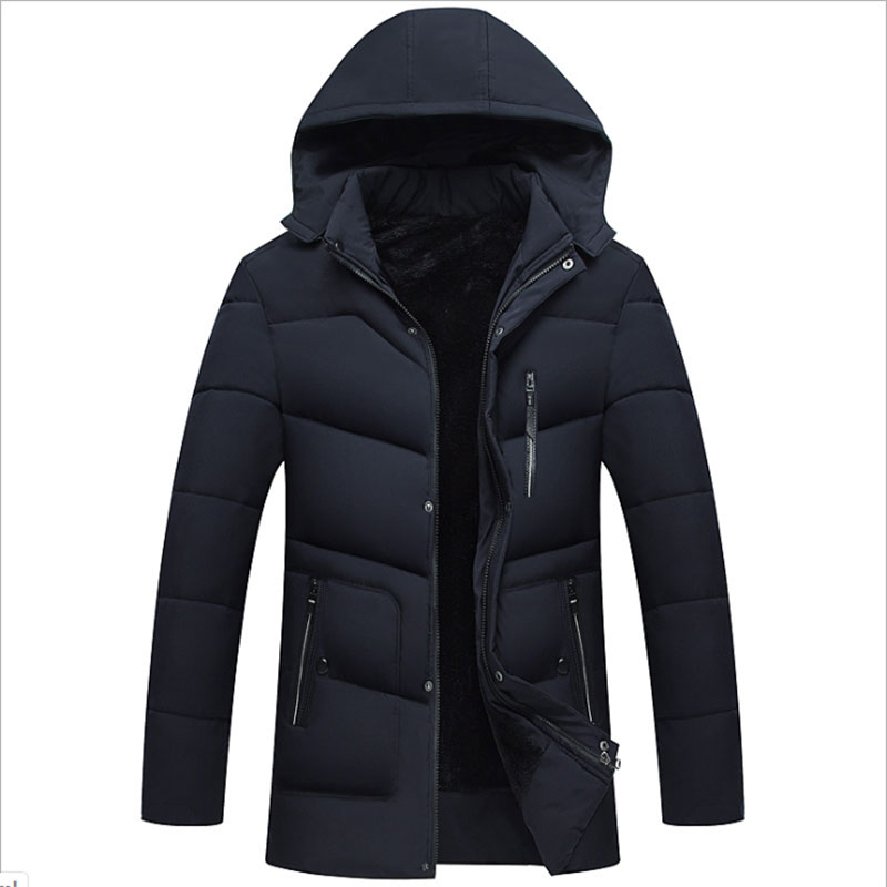 Mid-length Pike Men's Winter Plus Velvet Hooded Jacket 2019 Fashion Men's Winter Snow Coat Thick Warm Down Jacket 36% Discount