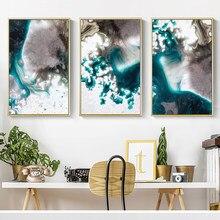 Lienzo de Color agua de ensueño moderno abstracto, póster e impresión para sala de estar, arte de pared del dormitorio, Imagen 4-4, blanco y azul
