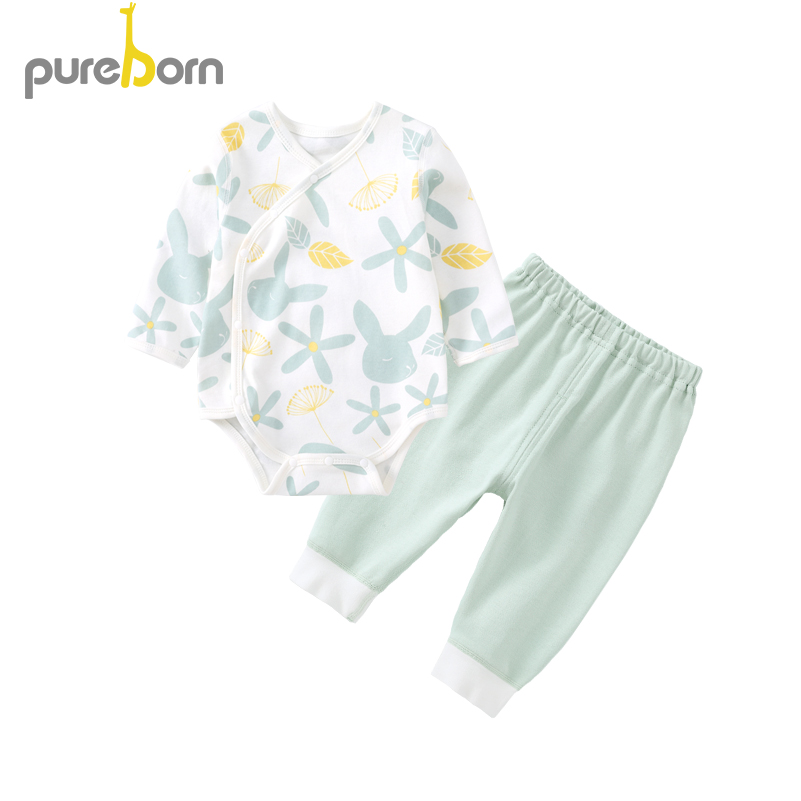 Pureborn 2 Pcs Newborn Unisex Baby Bodysuit and Pants Baby Girl Clothing Sets Cartoon Cotton Baby Boy Outfit Spring Autumn