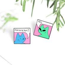Tweedelige Set Van Dialoog Kat Leuke Emaille Broches Cool Vierkante Cartoon Pins Gift Voor Vrienden Liefhebbers Custom Sieraden Shirt badge