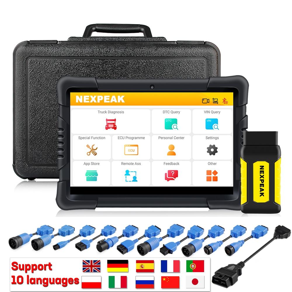 Диагностический сканер NEXPEAK K2 для тяжелых грузовиков, диагностический сканер для двигателя из АБС-пластика, подушки безопасности, DPF, регули...