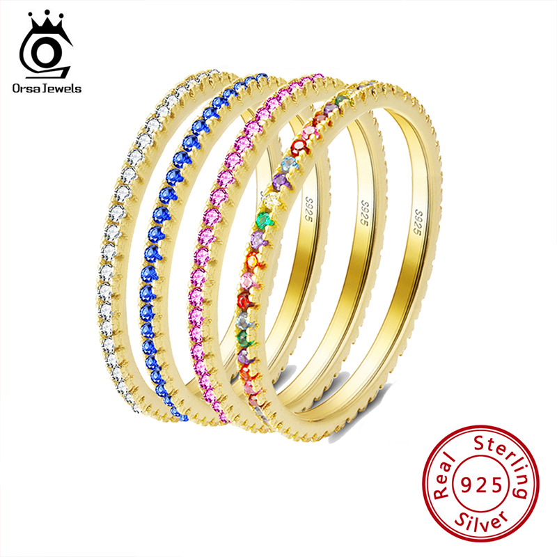 ORSA JEWELS Solid 925 Sterling Silver Women Rings Accessories Micro-inlaid Colourful Zircon Ring S925 Silver Fine Jewelry OSR63