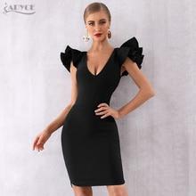 Adyce 2020 New  Arrival Summer Women Celebrity Party Dress Vestido Sexy Black Ruffles Butterfly Sleeve Deep V Bodycon Club Dress