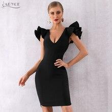 Adyce 2020 הגעה חדשה קיץ נשים סלבריטאים המפלגה שמלת Vestido סקסי שחור ראפלס פרפר שרוול עמוק V Bodycon מועדון שמלה