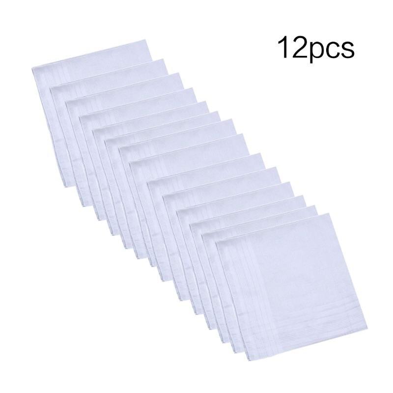 12Pcs 40x40cm Men Women Cotton Handkerchiefs Pure Hankies Jacquard Striped Pocket Square Towel DIY Painting