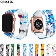 цена на Floral Flower Sport strap For Apple Watch band apple watch 5 4 3 band 44mm 40mm Iwatch band 38mm 42mm bracelet watchband belt