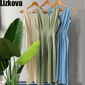 Lizkova Summer  Sleeveless Dot Dress Women Green V-neck Tunic Bandage Elegant Dress 2020 Plus Size Tank Dress new fashion plus size women s green green dress korean version of summer slim green dress 2126
