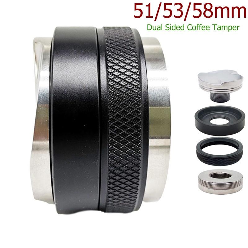 Дистрибьютор и Темпер для кофе, 51/53/58 мм, с двойной головкой, подходит для выравнивания кофе, регулируемая глубина-Профессиональные ручные т...