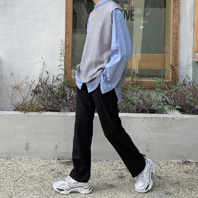 Herfst Nieuwe Trui Vest Mannen Warme Mode Effen Kleur Toevallige Mannelijke Kleding V-hals Knit Dikke Mouwloze Trui Man Streetwear