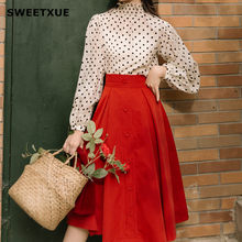 SWEETXUE 2019 New Elegant Suit High Collar Puff Sleeves Dot Print Shirt High Waist Red Single-Breasted Skirt Two-Piece Set Women(China)