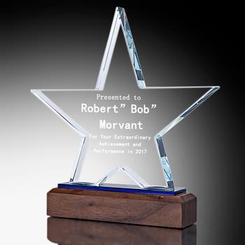 H&D Free Custom Optical Crystal Star Award Figurine Collection Souvenir Gift for Love,Graduation,Appreciation,Achievement
