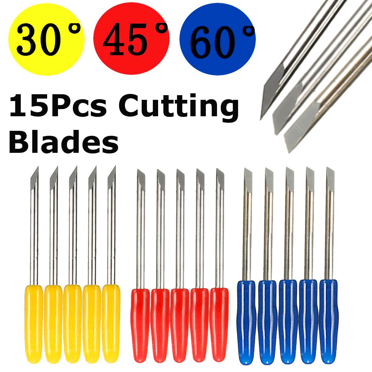 5pcs 30/ 45/ 60 Degree Vinyl Cutter Engraving Machine Blades Cutter For Graphtec CB09 Vinyl Cutter Plotter Handle