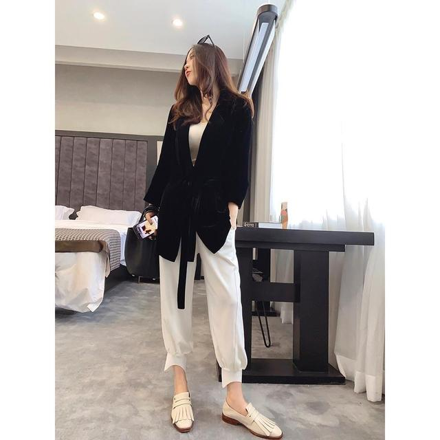 Peonfly New 2020 Autumn Women's Velvet Blazers Jacket with Sashes Female Notched Outerwear Office Ladies Coat Loose Black Blazer 5