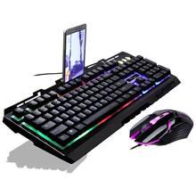 Игровая светящаяся проводная usb мышь и клавиатура g700 с радужной