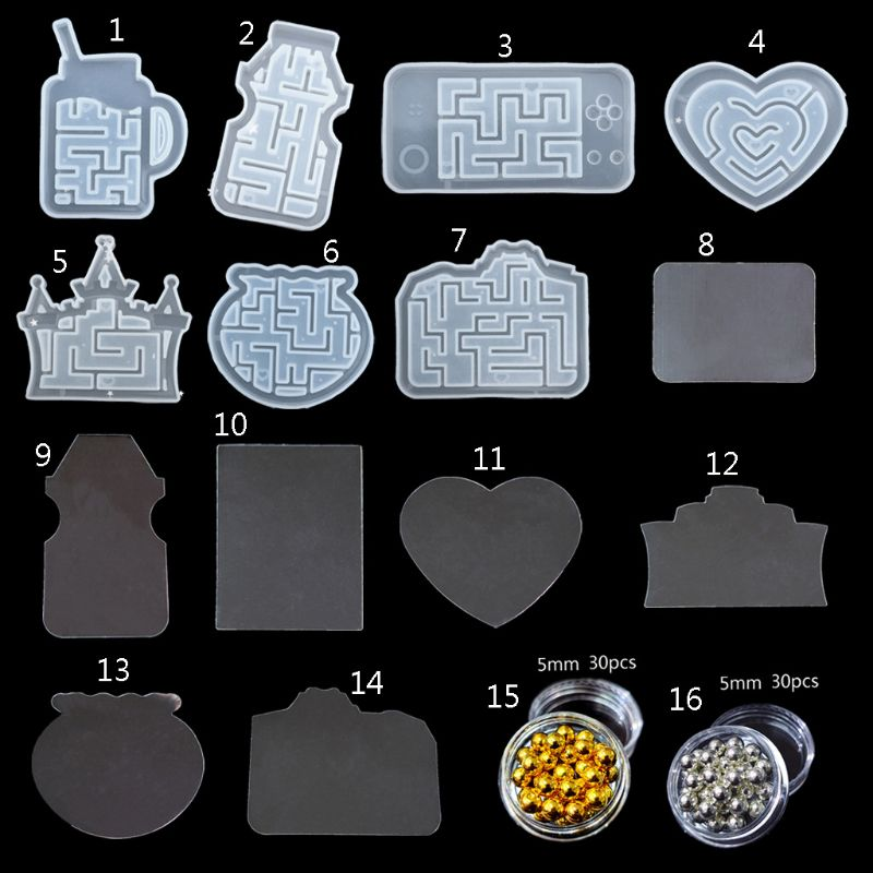 Maze Quicksand Pendant Mold Labyrinth Fish Tank Castle Camera Kechain Molds Kit